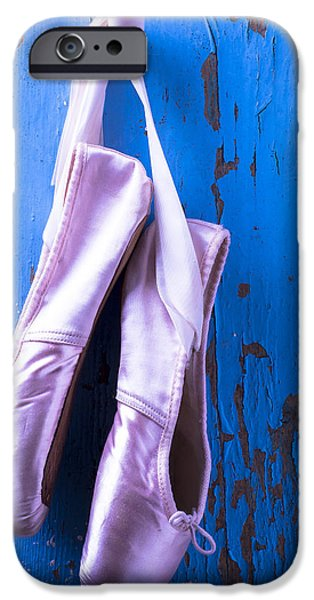 Ballet Dancers Photographs iPhone Cases - Ballet shoes on blue wall iPhone Case by Garry Gay