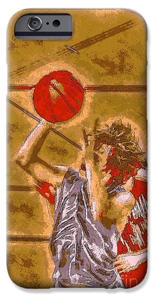 American Professional Basketball Player iPhone Cases - Ballin It Up iPhone Case by Dan Stone
