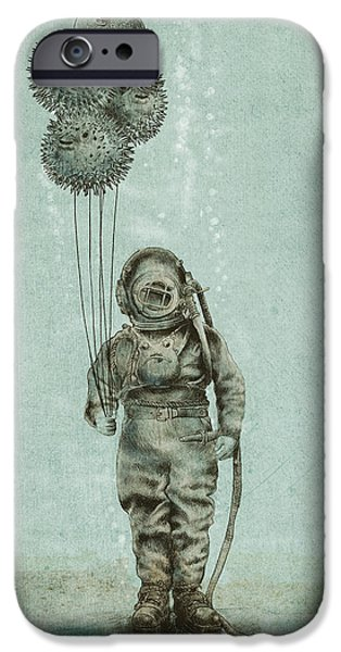 Ocean Drawings iPhone Cases - Balloon Fish iPhone Case by Eric Fan