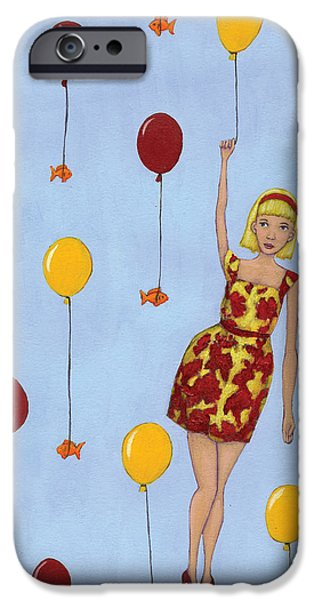 Goldfish iPhone Cases - Balloon Girl iPhone Case by Christy Beckwith