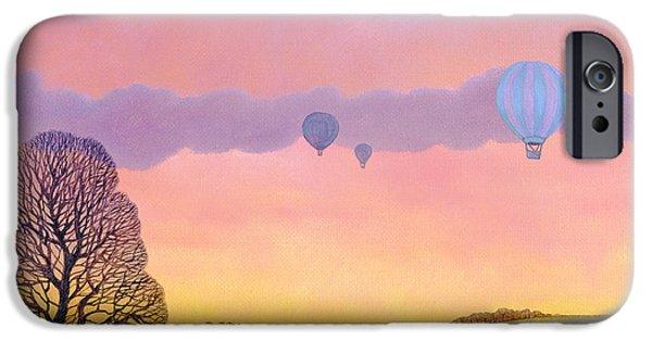 Hot Air Balloon iPhone Cases - Balloon Race, 2004 Oil On Canvas iPhone Case by Ann Brain