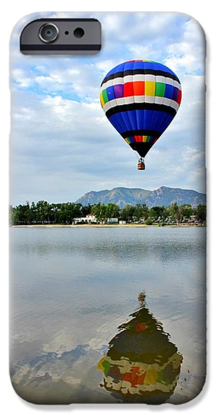 Hot Air Balloon iPhone Cases - Balloon Reflection 1 iPhone Case by Diane Alexander