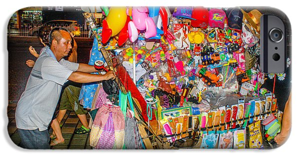 Balloon Vendor iPhone Cases - Balloons and Things iPhone Case by Robert Hebert