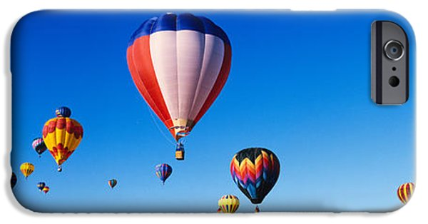 Hot Air Balloon iPhone Cases - Balloons Floating In Blue Sky iPhone Case by Panoramic Images