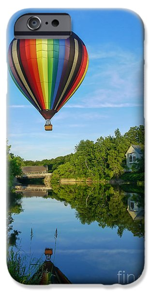 Hot Air Balloon iPhone Cases - Balloons over Quechee Vermont iPhone Case by Edward Fielding