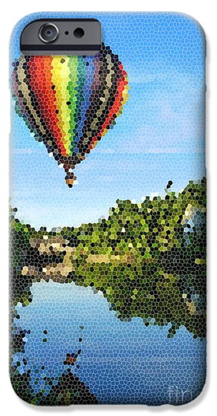 Hot Air Balloon iPhone Cases - Balloons over Quechee Vermont Stain Glass iPhone Case by Edward Fielding
