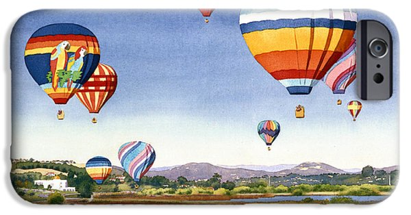 Santa iPhone Cases - Balloons over San Elijo Lagoon Encinitas iPhone Case by Mary Helmreich