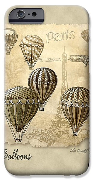 Hot Air Balloon iPhone Cases - Balloons With Sepia iPhone Case by Lee Owenby