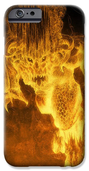 Fallen Angels iPhone Cases - Balrog of Morgoth iPhone Case by Curtiss Shaffer