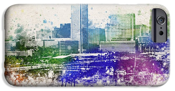 Skyscraper Mixed Media iPhone Cases - Baltimore City Skyline iPhone Case by Aged Pixel