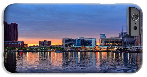 Baltimore iPhone Cases - Baltimore Inner Harbor at Dusk iPhone Case by Olivier Le Queinec