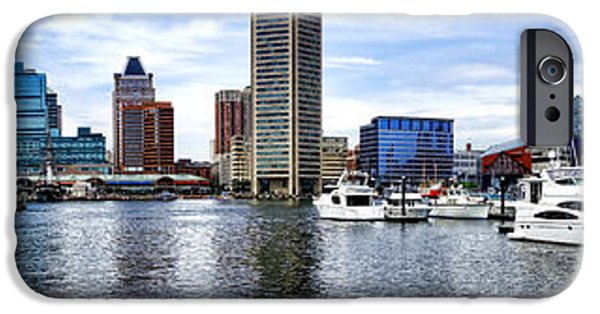 Small iPhone Cases - Baltimore Inner Harbor Marina iPhone Case by Olivier Le Queinec