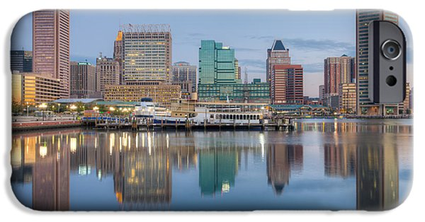 Inner World iPhone Cases - Baltimore Inner Harbor Skyline at Dawn I iPhone Case by Clarence Holmes