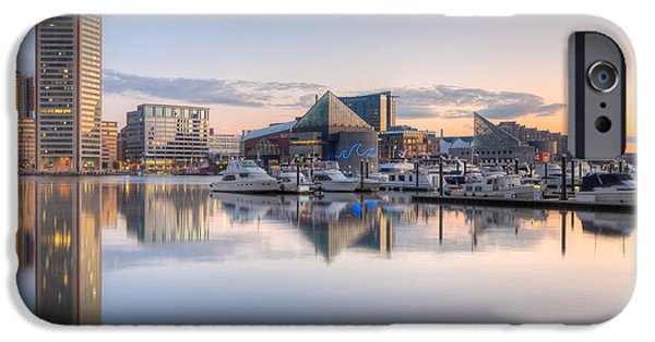 Inner World iPhone Cases - Baltimore Inner Harbor Skyline at Dawn II iPhone Case by Clarence Holmes
