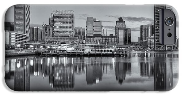 Inner World iPhone Cases - Baltimore Inner Harbor Skyline at Dawn III iPhone Case by Clarence Holmes