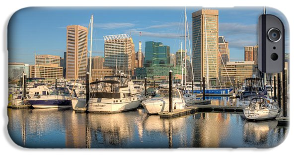Inner World iPhone Cases - Baltimore Inner Harbor Skyline I iPhone Case by Clarence Holmes