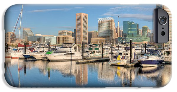 Inner World iPhone Cases - Baltimore Inner Harbor Skyline II iPhone Case by Clarence Holmes