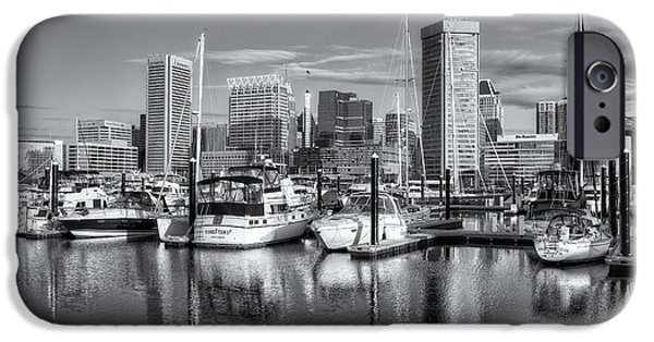 Inner World iPhone Cases - Baltimore Inner Harbor Skyline IV iPhone Case by Clarence Holmes