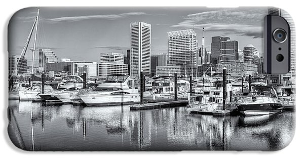 Inner World iPhone Cases - Baltimore Inner Harbor Skyline V iPhone Case by Clarence Holmes