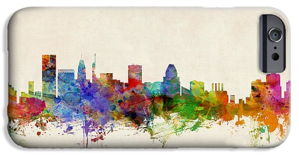 States Digital iPhone Cases - Baltimore Maryland Skyline iPhone Case by Michael Tompsett