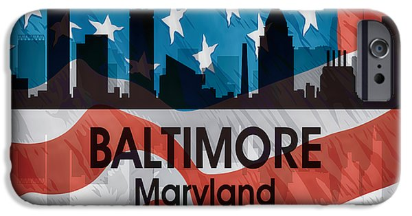 Buildings Mixed Media iPhone Cases - Baltimore MD American Flag Squared iPhone Case by Angelina Vick