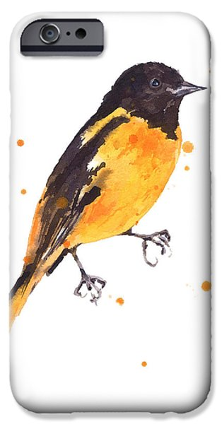 Baltimore iPhone Cases - Baltimore Oriole Beauty iPhone Case by Alison Fennell
