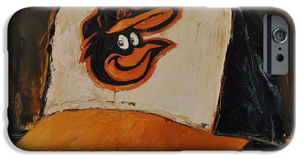 Baseball Art Paintings iPhone Cases - Baltimore Orioles iPhone Case by Lindsay Frost