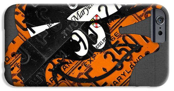 Plate iPhone Cases - Baltimore Orioles Vintage Baseball Logo License Plate Art iPhone Case by Design Turnpike