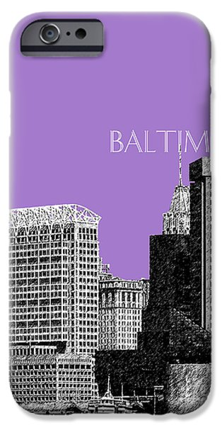 Pen And Ink iPhone Cases - Baltimore Skyline 1 - Violet iPhone Case by DB Artist