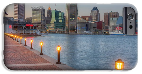 Inner World iPhone Cases - Baltimore Skyline at Twilight I iPhone Case by Clarence Holmes