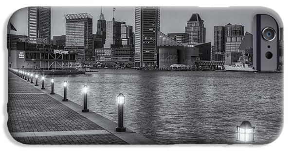 Inner World iPhone Cases - Baltimore Skyline at Twilight II iPhone Case by Clarence Holmes