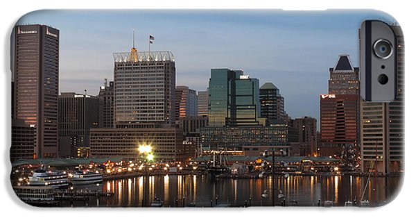 Constellations iPhone Cases - Baltimore Skyline before Dusk iPhone Case by Cityscape Photography