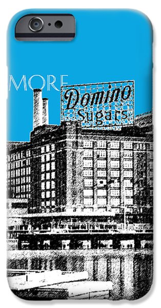 Pen And Ink iPhone Cases - Baltimore Skyline Domino Sugar - Ice Blue iPhone Case by DB Artist