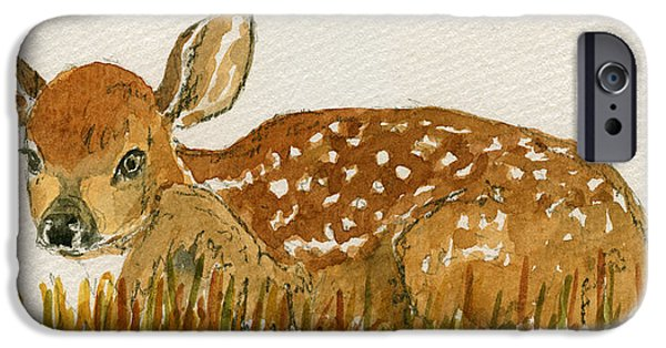 Young Paintings iPhone Cases - Bambi deer iPhone Case by Juan  Bosco