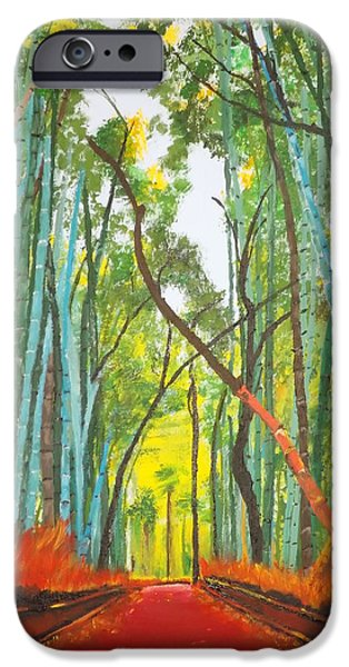 Bamboo Fence Paintings iPhone Cases - Bamboo iPhone Case by Denise Morgan