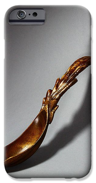 Wooden Sculptures iPhone Cases - Bamboo Spoon 1 iPhone Case by Abram Barrett