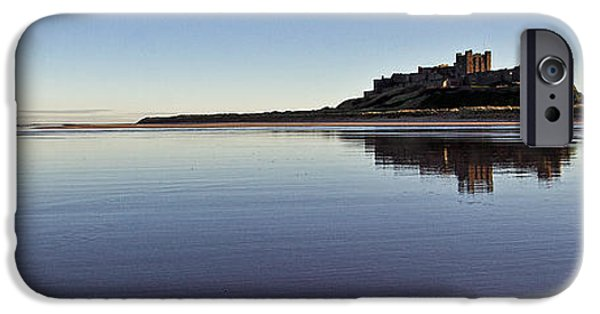 Sand Castles iPhone Cases - Bamburgh Castle Panorama iPhone Case by David Pringle
