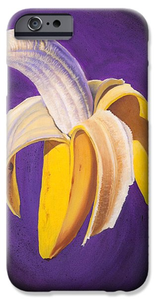 Food And Beverage Paintings iPhone Cases - Banana Half Peeled iPhone Case by Karl Melton