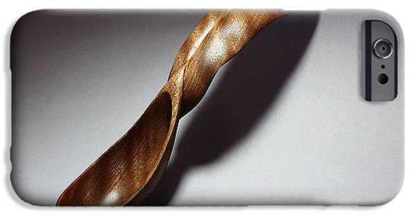 Wooden Sculptures iPhone Cases - Banana Leaf Spoon 3 iPhone Case by Abram Barrett
