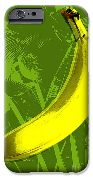 Pop iPhone Cases - Banana pop art iPhone Case by Jean luc Comperat