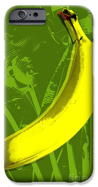 Pop Digital Art iPhone Cases - Banana pop art iPhone Case by Jean luc Comperat