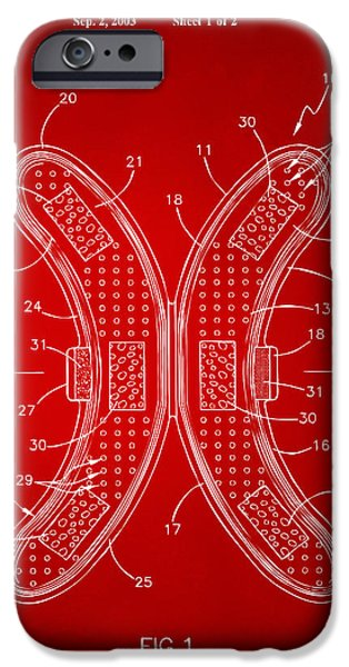 Strange Digital Art iPhone Cases - Banana Protection Device Patent Red iPhone Case by Nikki Marie Smith