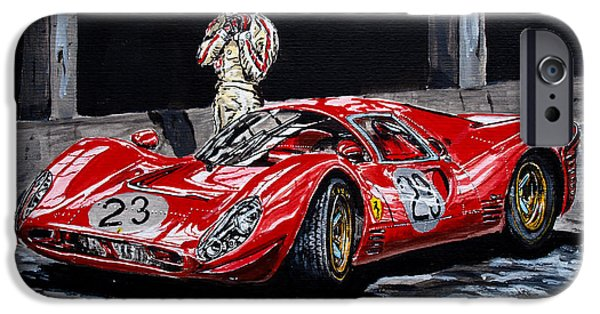 Porsche 917k iPhone Cases - Bandini and the P4 iPhone Case by Juan Mendez