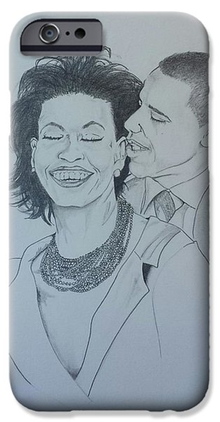 First Lady Drawings iPhone Cases - BandMO iPhone Case by DMo Her