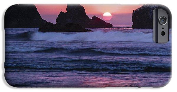 Jean Noren iPhone Cases - Bandon Beach Sunset iPhone Case by Jean Noren