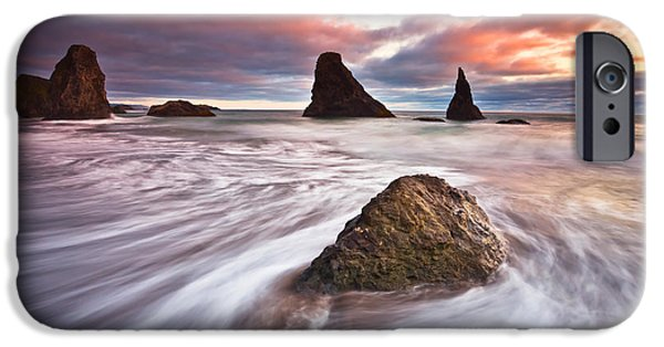 Oregon Coast iPhone Cases - Bandon Evening Lights iPhone Case by Darren  White