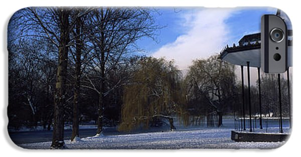 Bandstand iPhone Cases - Bandstand In Snow, Regents Park iPhone Case by Panoramic Images