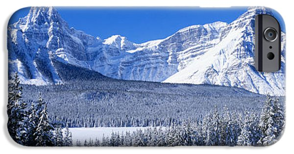 Snow Covered Trees iPhone Cases - Banff National Park Alberta Canada iPhone Case by Panoramic Images