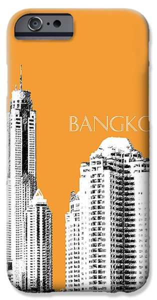 Pen And Ink iPhone Cases - Bangkok Thailand Skyline 1 iPhone Case by DB Artist