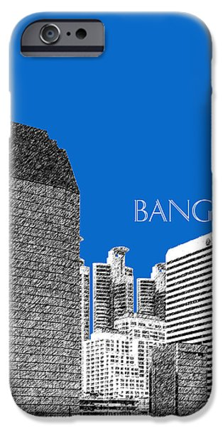 Pen And Ink iPhone Cases - Bangkok Thailand Skyline 2 - Blue iPhone Case by DB Artist